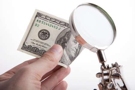Money verification for authenticity Stock Photo