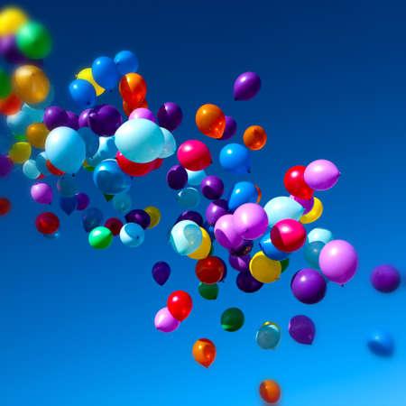 하늘로 날아 다니는 다채로운 풍선 파티