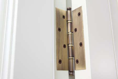 New modern metal door hinges on white wooden doors Reklamní fotografie