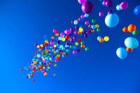 colorful balloons on a blue sky background.high resolution