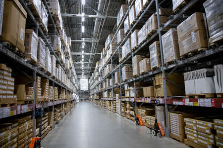 MEGA Moscow, Moscow - January 16, 2020: Warehouse aisle in an IKEA store. Founded in 1943, IKEA is the world's largest furniture retailer. IKEA operates 351 stores in 43 countries.