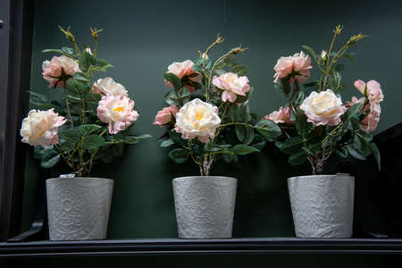 flowers of roses , blue and white, red, yellow, brown, collected in a bouquet in three pots and decorated with roses stand on a wooden table