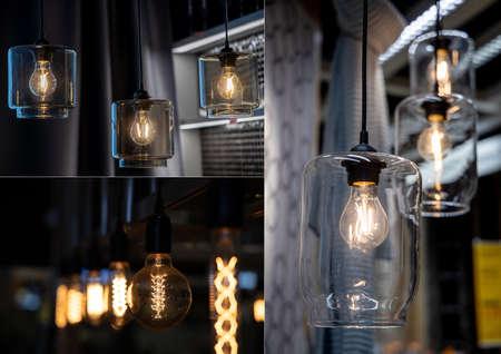 Vintage Edison lamps in the interior. loft style Фото со стока