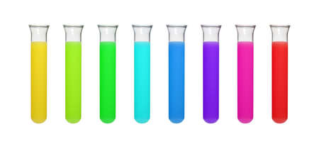 Reagents are filled into test tubes for analysis.
