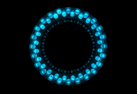 leds: 48 cyan LEDs are arranged in the ring. Stock Photo