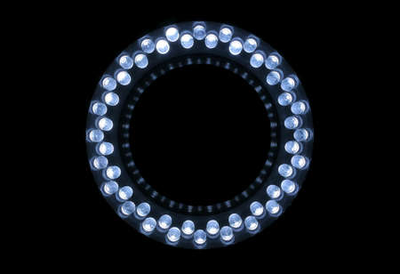 leds: 48 white LEDs are arranged in the ring. Stock Photo