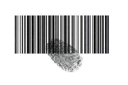 With a bar code can be identified things and be identified with a fingerprint people. photo