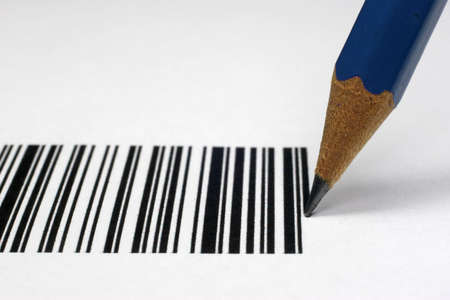unique characteristics: A barcode can also be drawn with a pencil. Stock Photo