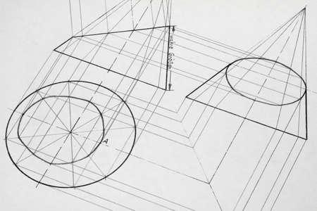 Un dibujo de lápiz creado con un cono truncado.  Foto de archivo - 7301735