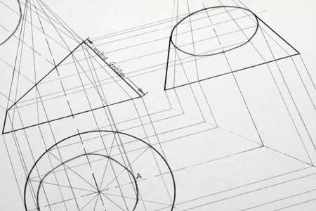 truncated: A pencil drawing created with a truncated cone.