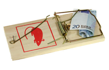 Money is attractive on a perilous rat trap. photo