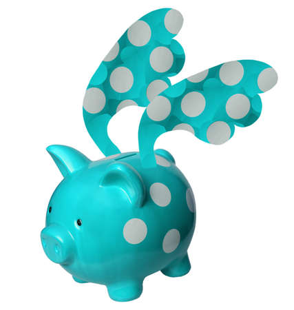 The photo shows a piggy bank with wings. photo
