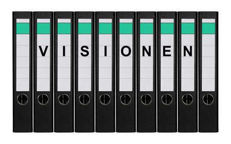 Dziesięć segregatorów kołowych etykietą VISIONEN stałego obok siebie.
