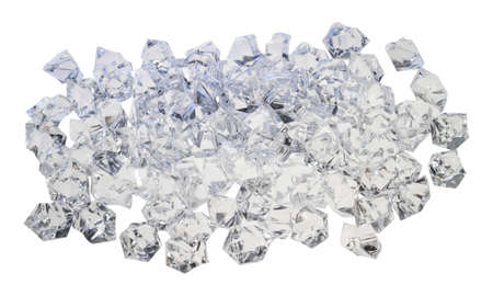 A small pile of ice is on a white background.