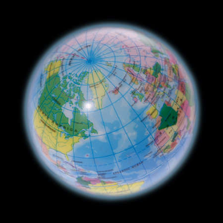 The northern part of the globe is on the photo to see. photo