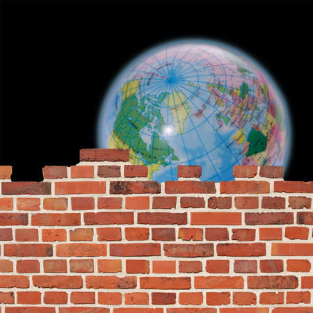 brick earth: Behind a wall, a globe can be seen against a black background.