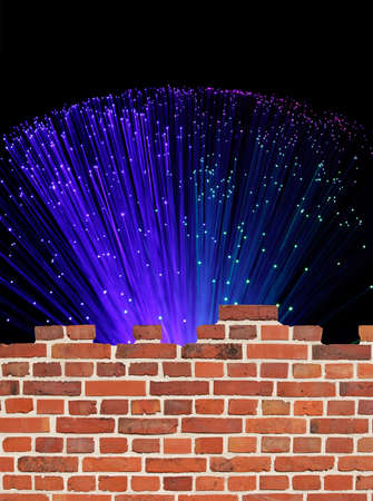 Colored fiber optic lights behind a wall. photo
