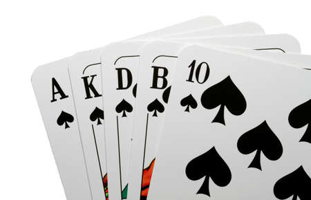 skat: Photograph of good playing cards against a white background. Stock Photo