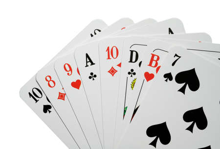 Photograph of good playing cards against a white background. Standard-Bild