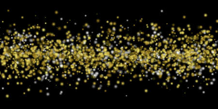 Gold and silver balls floating in a horizontal area in front of a black background. photo