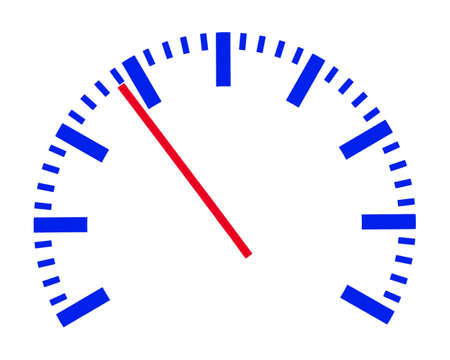 tachometer: On a scale of one value is displayed with a pointer.