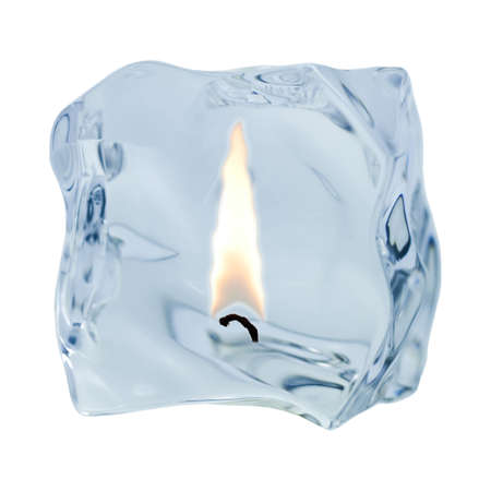 An irregularly shaped ice cube is released on a white background.