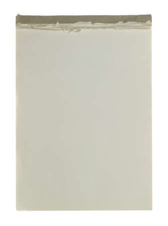 An old writing pad located on a white background. photo