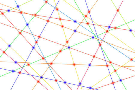 Colorful lines create many links and cross each other.