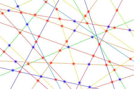 horizontal lines: L�neas de colores crean muchos v�nculos y se cruzan entre s�. Foto de archivo