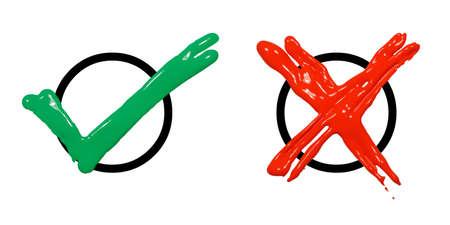 Zielony znacznik wyboru i Czerwony Krzyż znajduje się na białym tle.