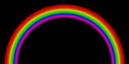 A colorful rainbow form a semicircle in the air  photo