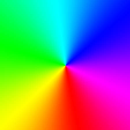 All colors of the spectrum are arranged around a central point