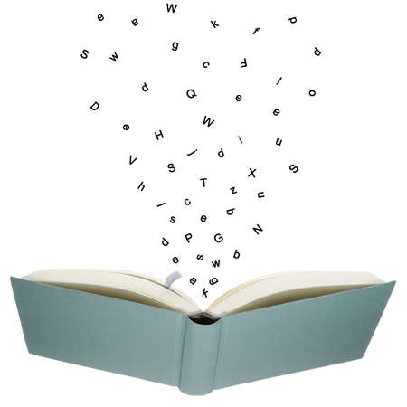 textbooks: The letters from the book flying through the air