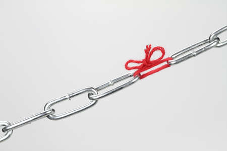 flaw: A chain is only as strong as its weakest link  Stock Photo