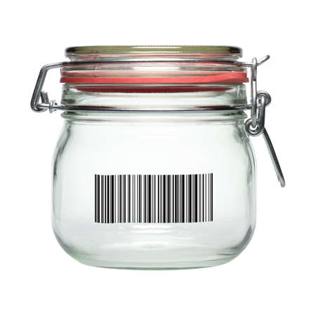 On a jar to identify a barcode is printed  photo