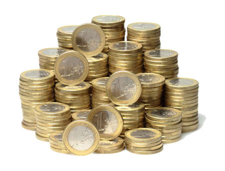 mount price: About 300 Euro coins lie on a stack