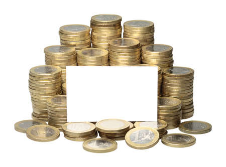 About 300 Euro coins lie on a stack  photo
