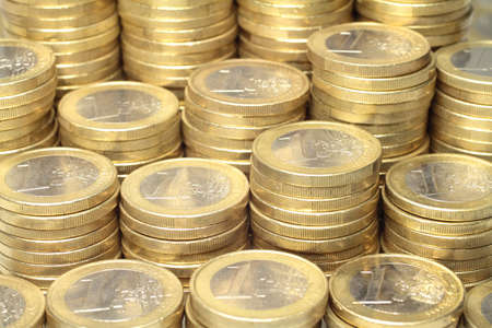 euro coins: About 300 Euro coins lie on a stack
