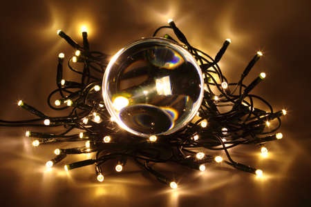Chain of lights with LEDs create an atmospheric lighting  photo