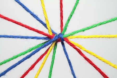 networked: Colorful ribbons create many links and cross each other  Stock Photo