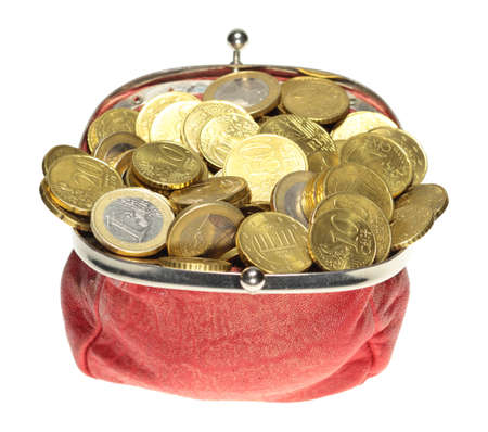Euro coins in a red purse in front of a white background  photo
