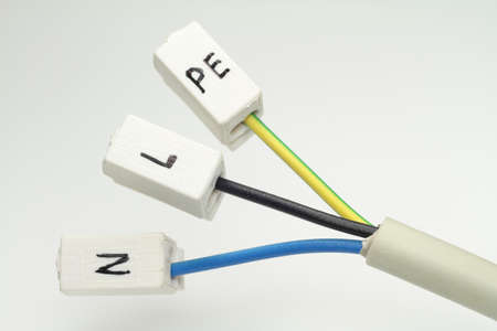 An electrical cable to the terminals for L, N and PE  Stock Photo - 18455434