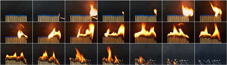 burned out: A series of matches are next to each other, which burn one after another  Stock Photo