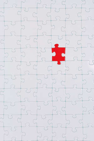 One stone in a white puzzle is colored  photo