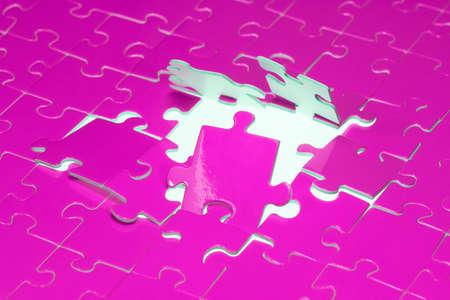 A puzzle with a hole located on a white background  Zdjęcie Seryjne
