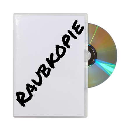 infringement: A CD in box written raubkopie on a white background
