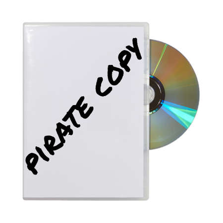 pirated: A CD in box written pirate copy on a white background  Stock Photo