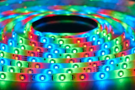 leds: Tira del LED con LEDs de color rojo, verde y azul Foto de archivo