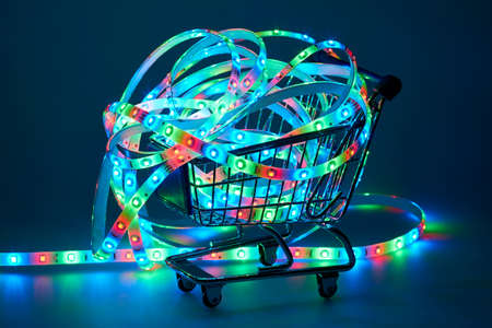 leds: LED strip with red, green and blue LEDs on shopping cart Stock Photo