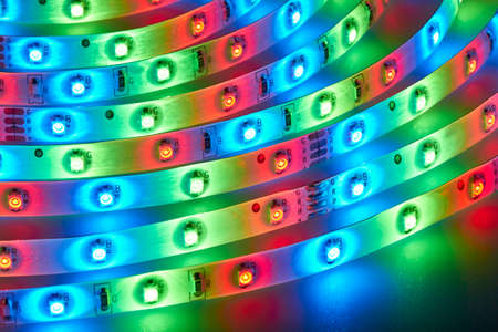LED strip with red, green and blue LEDs